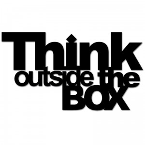 Napis 3D THINK OUTSIDE THE BOX DekoSign czarny
